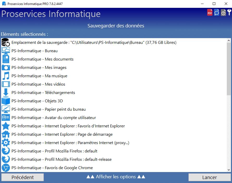 Liste des éléments à transférer sur le nouveau PC avec Fab's AutoBackup