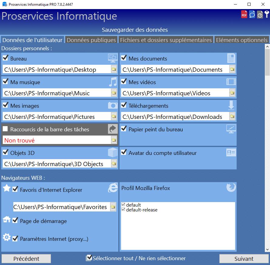 Sélection des éléments à transférer sur le nouveau PC