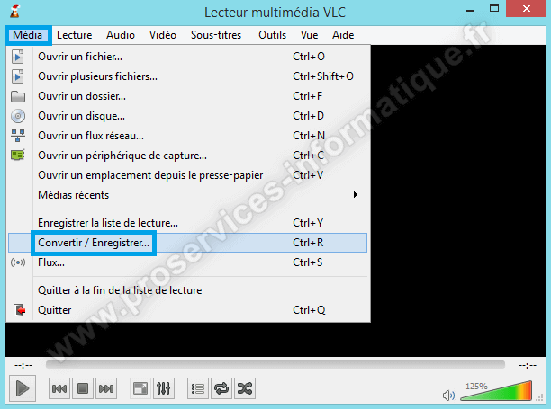 VLC Media Player Menu Média Convertir / Enregistrer