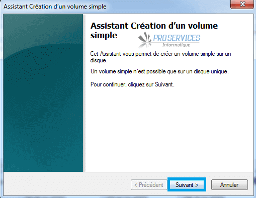 Windows : Assistant création d'un volume simple