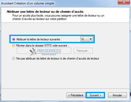 Windows : Attribuer une lettre de lecteur ou de chemin d'accès