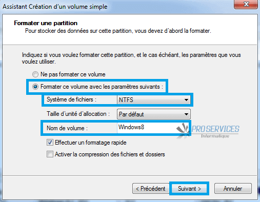 Windows : Création d'un volume simple formater une partition