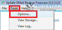 Configurer Upsafe Gmail Backup étape 1