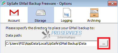 Configurer Upsafe Gmail Backup étape 3