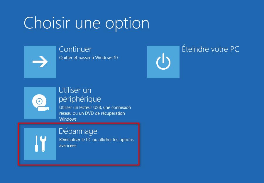 Choisir une option dans l'écran des options de démarrage avancées