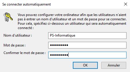 Connexion automatique sans mot de passe au démarrage de Windows 10