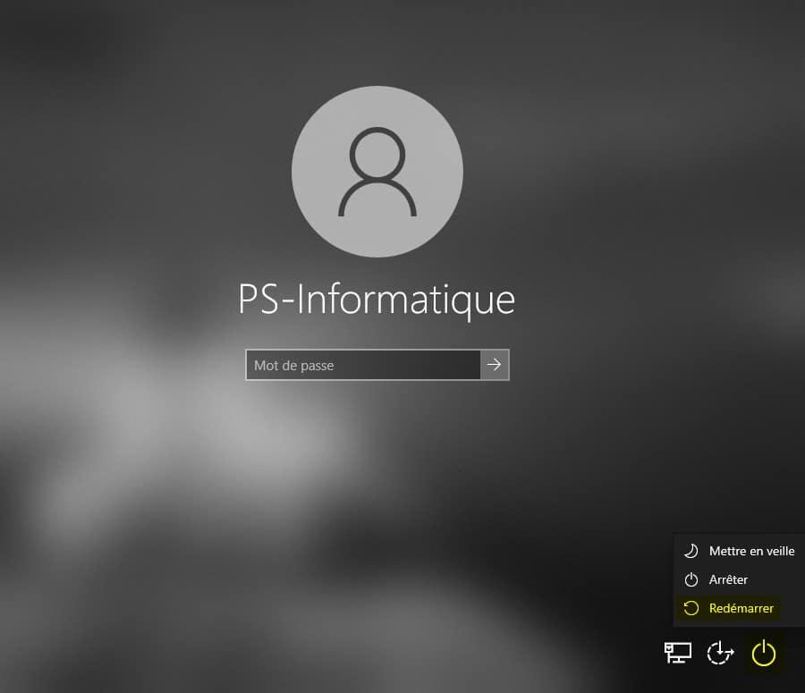 Démarrer Windows 10 en mode sans échec depuis l'écran de connexion Windows