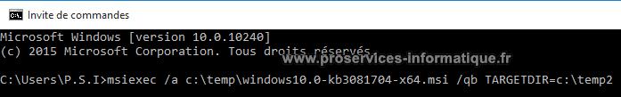Installer fichier windows-10.0-kb3081704 du Lecteur DVD Windows 10