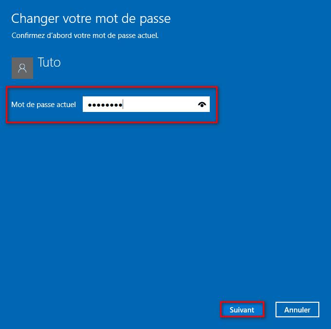 Mot de passe actuel utilisateur Windows 10