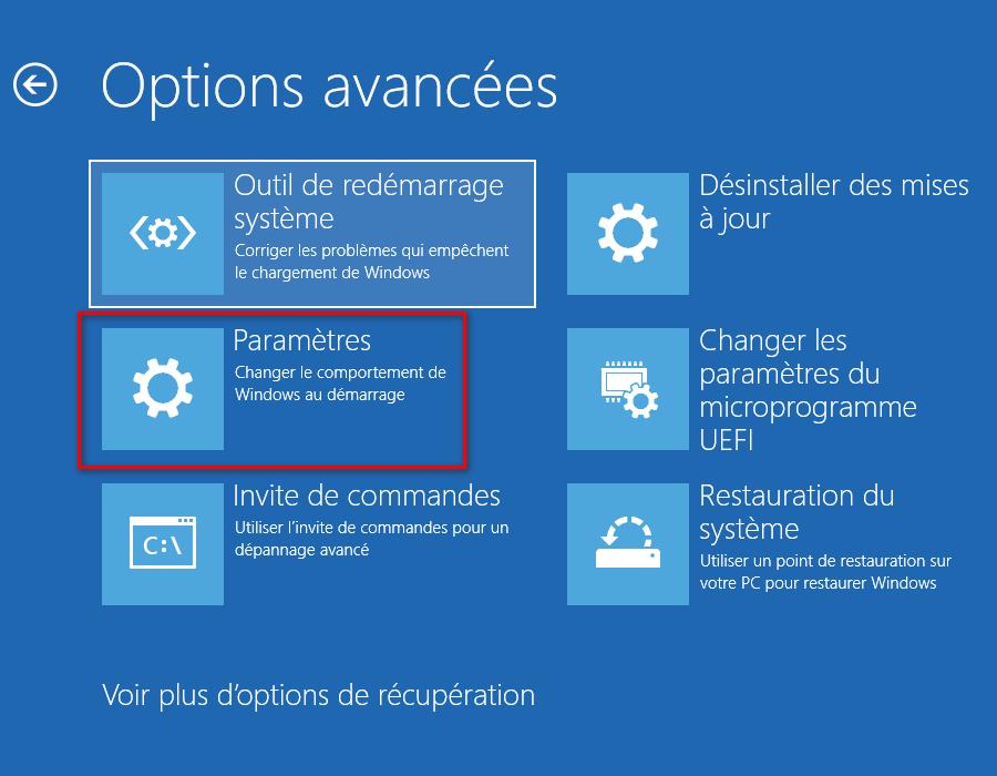 Options de récupération dans l'écran des options de démarrage avancées
