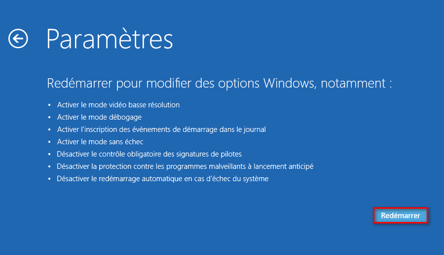 Redémarrer pour modifier le comportement de Windows au démarrage