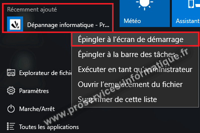 Épingler un raccourci de site Web au menu Démarrer de Windows 10