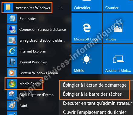 Raccourci Windows Media Center Windows 10