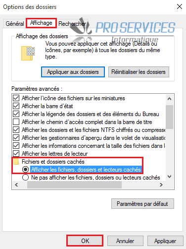 Windows 10 activer l'affichage des fichiers, dossiers et lecteurs cachés