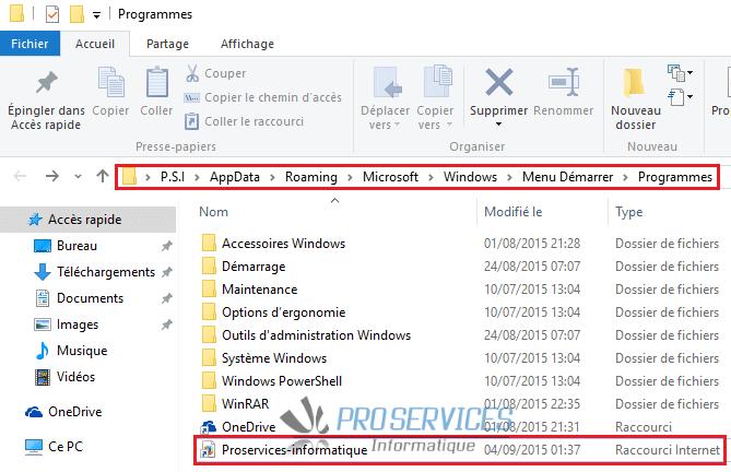 Windows 10 raccourci de site Web dans le dossier caché Programmes