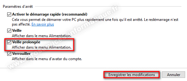 Activer l'option mise en veille prolongée bouton d'alimentation de Windows 10