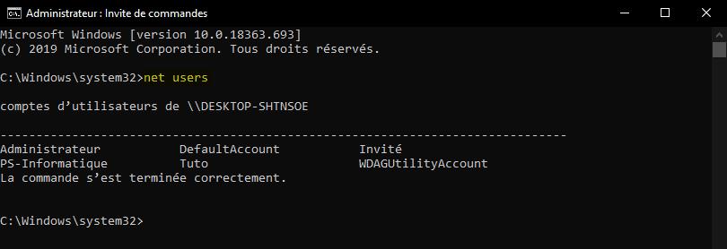 Afficher la liste des comptes utilisateurs en Invite de commandes