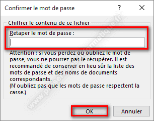 Chiffrer le contenu d'un document Microsoft Office confirmer le mot de passe