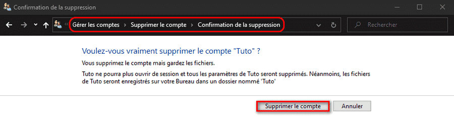 Confirmation de la suppression du compte utilisateur Windows 10