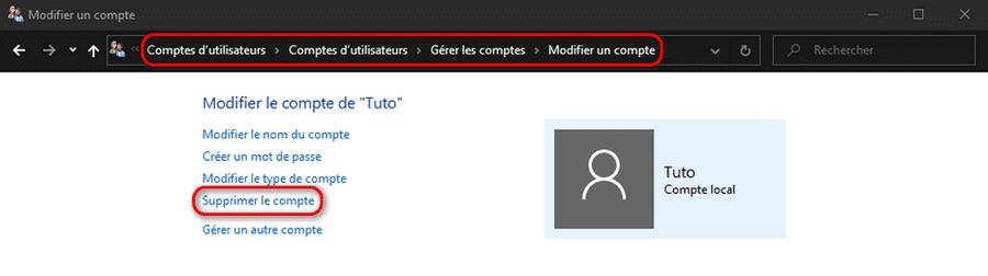 Modifier un compte utilisateur Windows 10