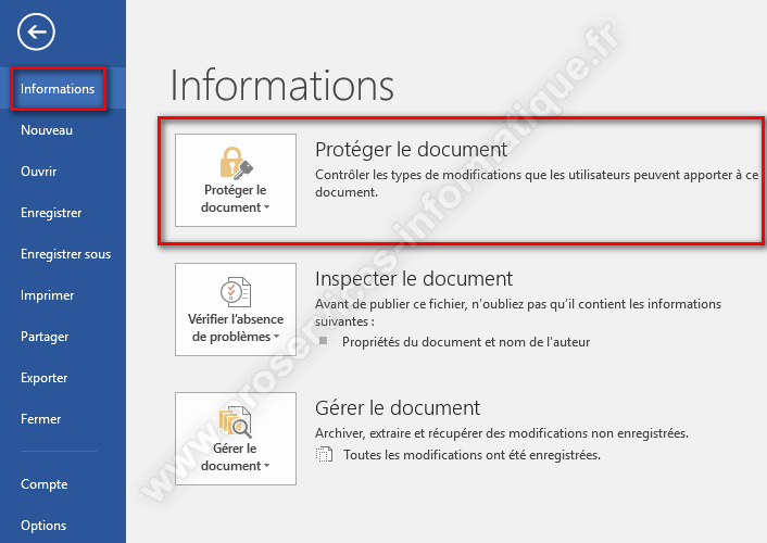Protéger un document Microsoft Office par un mot de passe
