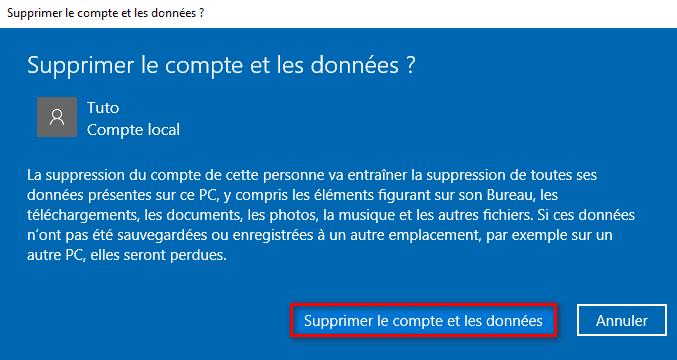 Supprimer le compte et les données utilisateur Windows 10