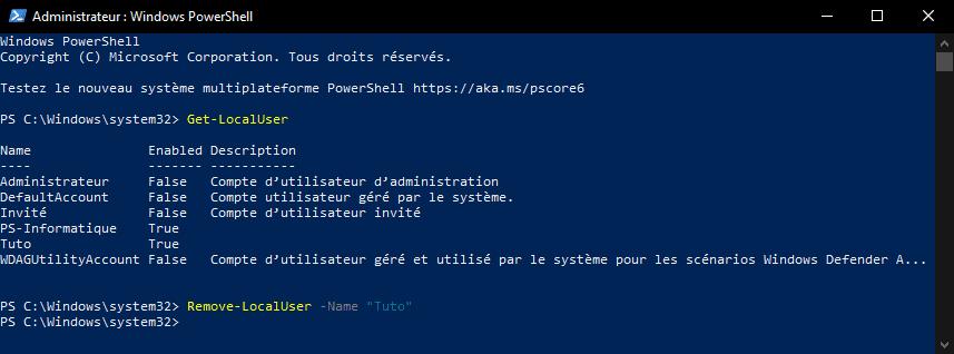Supprimer un compte utilisateur Windows 10 avec PowerShell