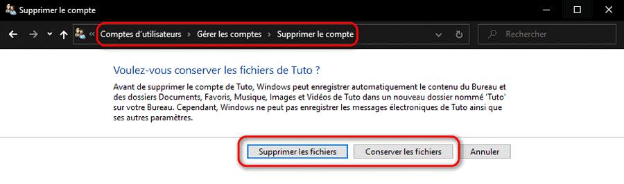 Supprimer ou conserver les fichiers utilisateurs Windows 10