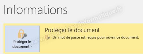 Un mot de passe est requis pour ouvrir ce document Office