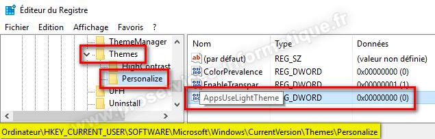 Création valeur DWORD AppsUseLightTheme pour activer le thème sombre de Windows 10