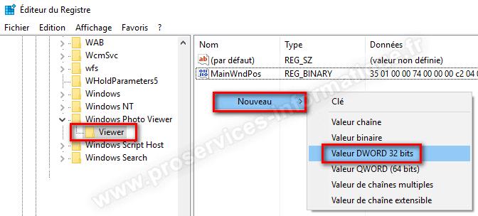Créer une nouvelle valeur DWORD 32 bits visionneuse de photos Windows