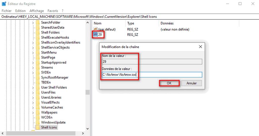 Désactiver flèche de raccourci sur icône avec le registre sur Windows 10