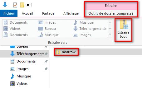 Extraire une archive sur Windows 10