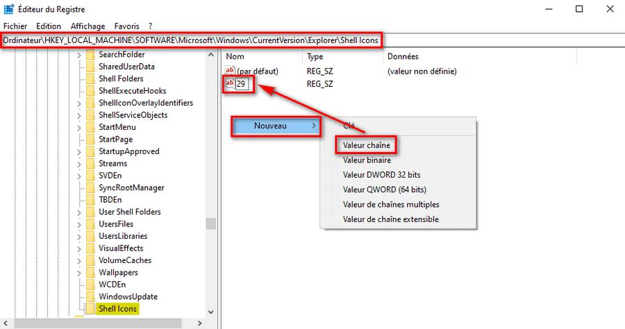 Supprimer flèche de raccourci sur icône Windows 10