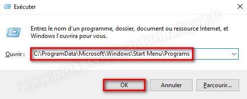 Accéder au dossier programmes du menu Démarrer de Windows 10