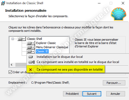 Installation de Classic Shell sur Windows 10