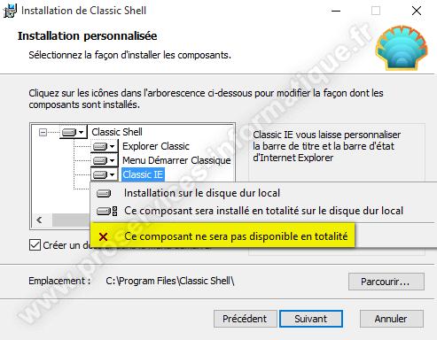 Installation de Classic Shell sur Windows 10
