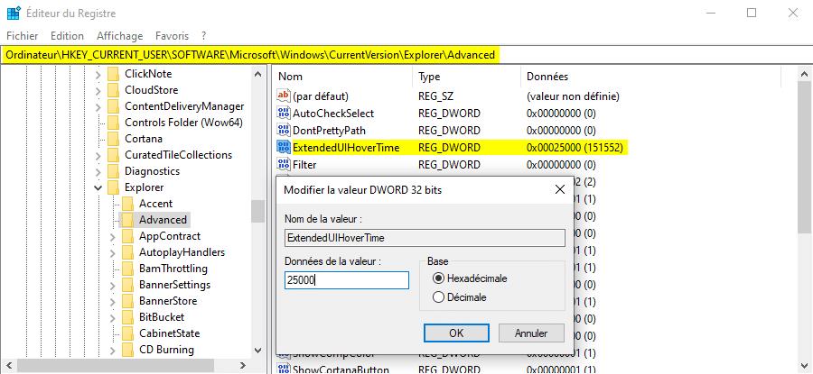 Désactiver les miniatures de la barre des tâches de Windows 10 avec l'Éditeur du Registre