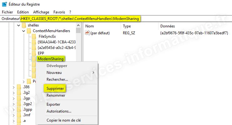 Supprimer l'élément Partager du menu contextuel de Windows 10