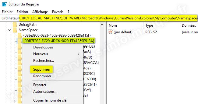 Supprimer le dossier Objets 3D de l'Explorateur de fichiers Windows 10 version 32 bits