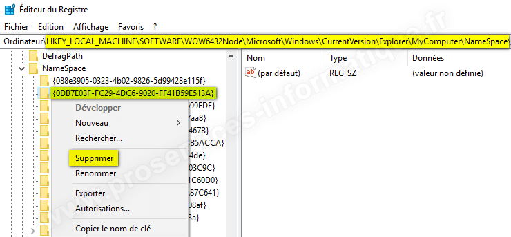 Supprimer le dossier Objets 3D de l'Explorateur de fichiers Windows 10 version 64 bits