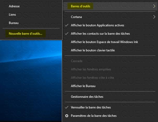 Créer une nouvelle barre d'outils sur Windows 10