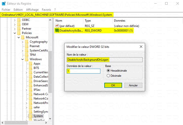 Création clé DisableAcrylicBackgroundOnLogon pour désactiver l'écran flou de connexion sur Windows 10