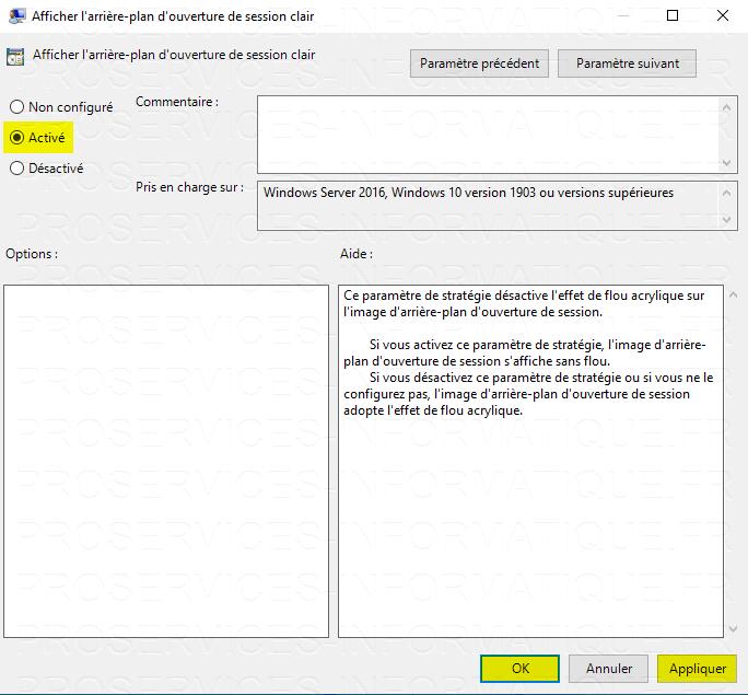 Désactiver l'effet de flou acrylique sur l'image d'arrière plan d'ouverture de session Windows 10