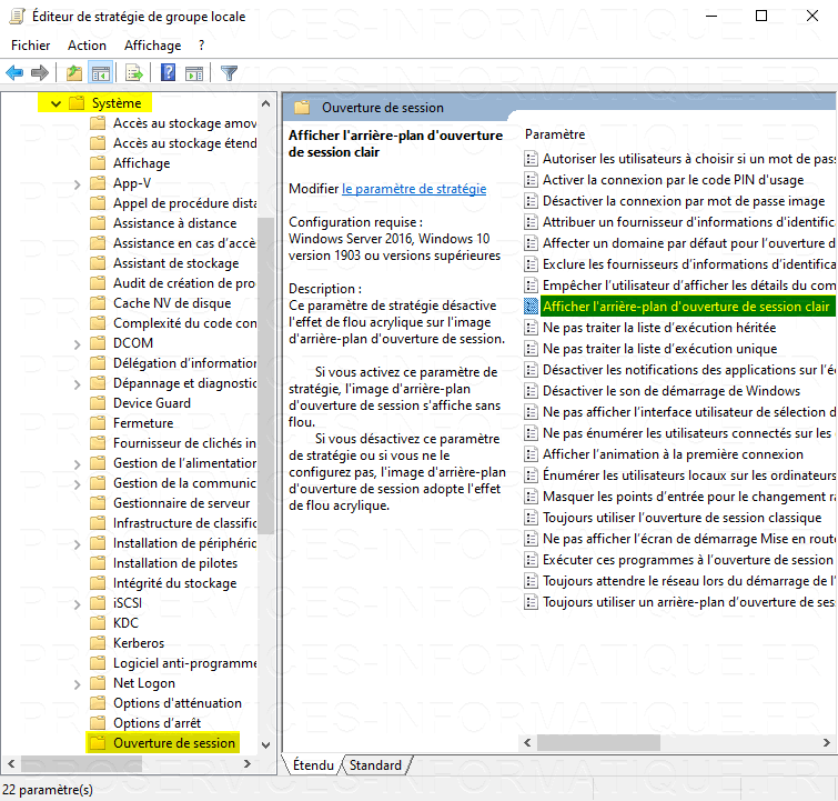 Désactiver le flou sur l'arrière-plan de l'écran de connexion Windows 10 avec l'Éditeur de stratégie de groupe locale