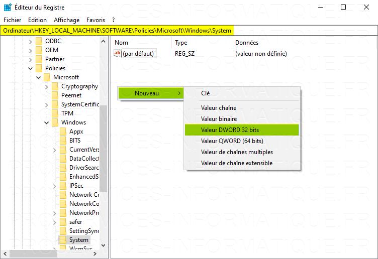 Désactiver le flou sur l'arrière-plan de l'écran de connexion Windows 10 avec l'Éditeur du Registre