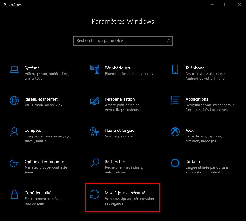 Accéder au paramètre Mise à jour et sécurité de Windows 10