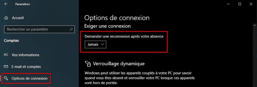 Désactiver mot de passe sortie de veille Windows 10