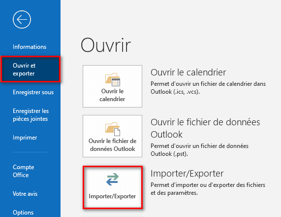 Importer et exporter dans Outlook