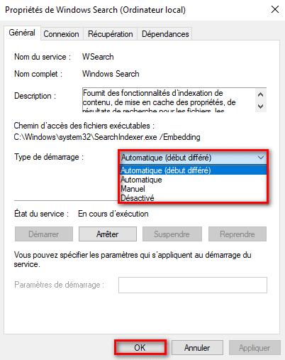 Changer le type du démarrage du service Windows Search